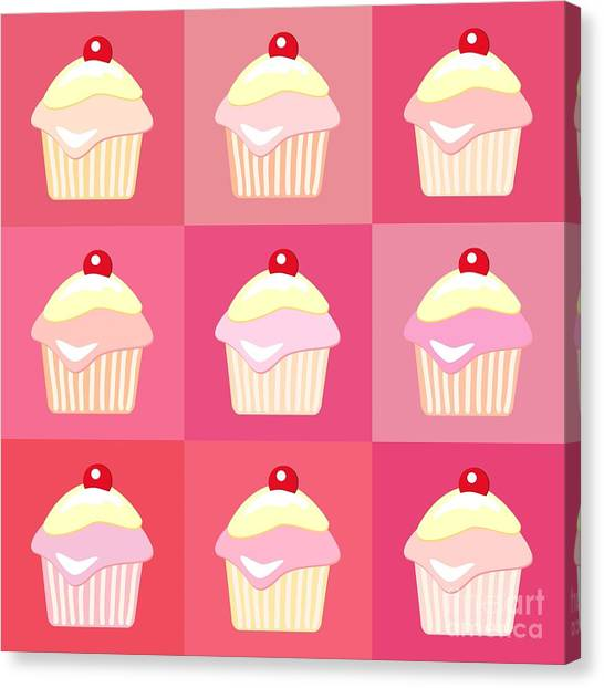 Raspberry Canvas Print - Cupcakes Pop Art  by Jane Rix