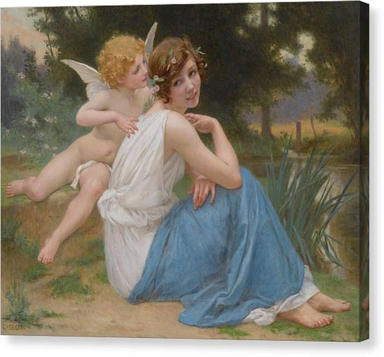 Cupid Canvas Print - Cupid And Psyche by Guillaume Seignac