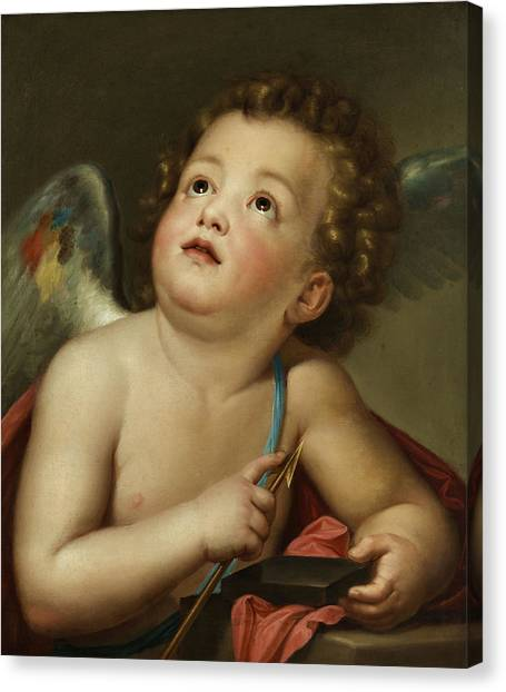 Cupid Canvas Print - Cupid Sharpening His Arrow by Anton Raphael Mengs