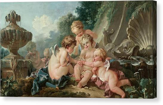 Vulcans Canvas Print - Cupids In Conspiracy by Francois Boucher