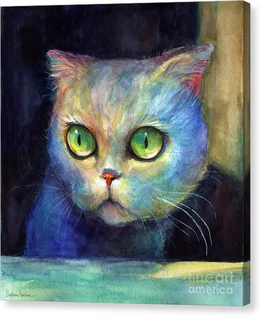 Watercolor Pet Portraits Canvas Print - Curious Kitten Watercolor Painting  by Svetlana Novikova