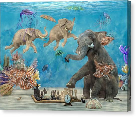 Happy Elephant Canvas Print - Curious Ocean by Betsy Knapp