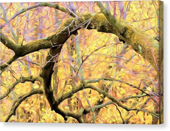 Curled Branch In Yellow Canvas Print