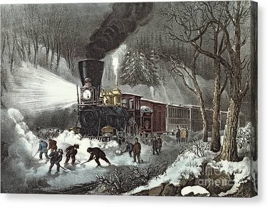 Shovel Canvas Print - Currier And Ives by American Railroad Scene