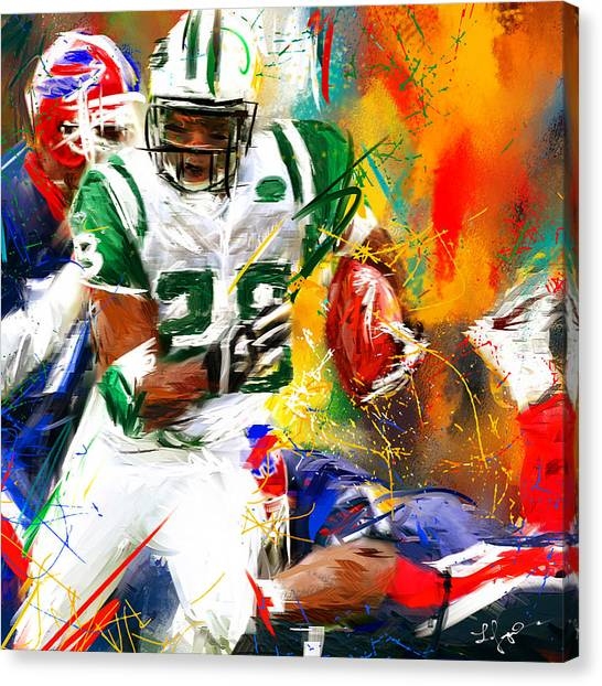 Running Backs Canvas Print - Curtis Martin New York Jets by Lourry Legarde