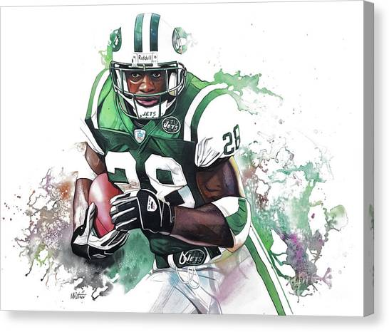Barry Sanders Canvas Print - Curtis Martin New York Jets  by Michael Pattison