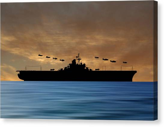 Aircraft Carrier Canvas Print - Cus Abraham Lincoln 1941 V2 by Smart Aviation