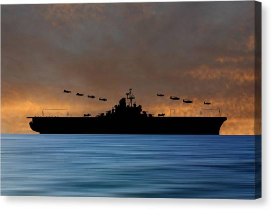 Aircraft Carrier Canvas Print - Cus Abraham Lincoln 1941 V3 by Smart Aviation