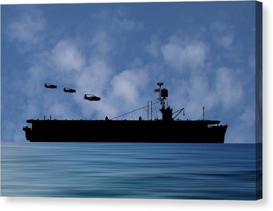 Aircraft Carrier Canvas Print - Cus Redwood 1941 V1 by Smart Aviation