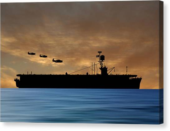 Aircraft Carrier Canvas Print - Cus Redwood 1941 V2 by Smart Aviation