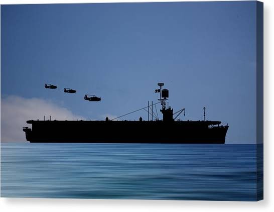 Aircraft Carrier Canvas Print - Cus Redwood 1941 V4 by Smart Aviation