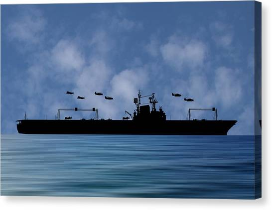 Aircraft Carrier Canvas Print - Cus Theodore Roosevelt 1944 V1 by Smart Aviation