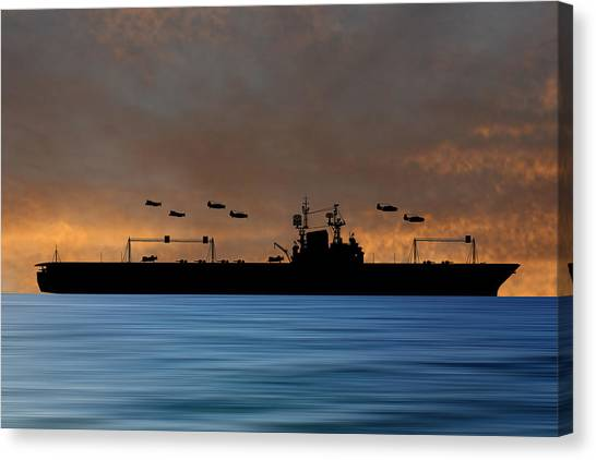 Aircraft Carrier Canvas Print - Cus Theodore Roosevelt 1944 V3 by Smart Aviation