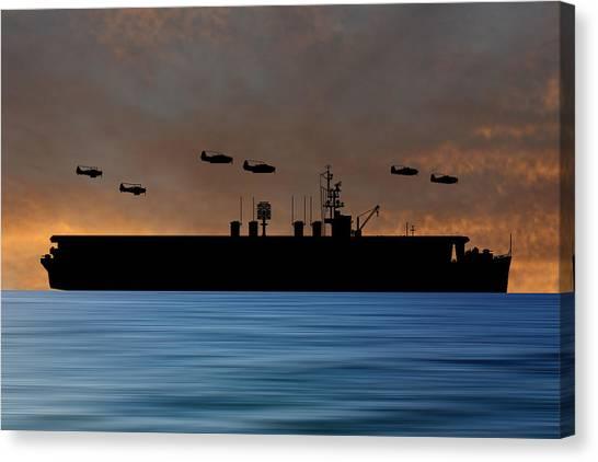 Aircraft Carrier Canvas Print - Cus Ulysses S Grant 1942 V3 by Smart Aviation