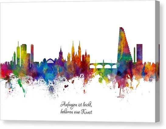 Switzerland Canvas Print - Custom Artwork Basel Switzerland Skyline by Michael Tompsett