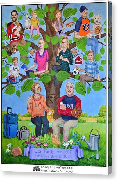 Custom Family Tree Art For Mom's 65th Birthday Canvas Print by Natasha Sazonova