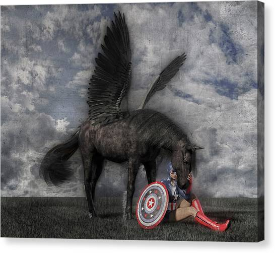 Pegasus Canvas Print - Custom Knapp 322 by Betsy Knapp