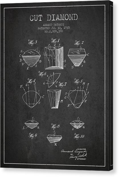 Gemstones Canvas Print - Cut Diamond Patent From 1935 - Charcoal by Aged Pixel