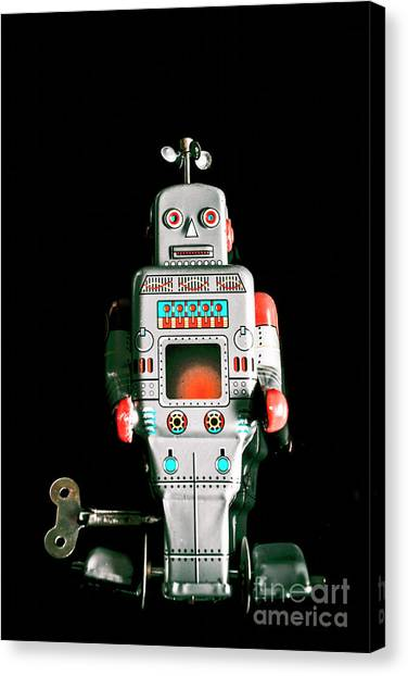 Machinery Canvas Print - Cute 1970s Robot On Black Background by Jorgo Photography - Wall Art Gallery