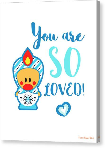 Cute Art - Blue And White Folk Art Sweet Angel Bird In A Matryoshka Costume You Are So Loved Wall Art Print Canvas Print