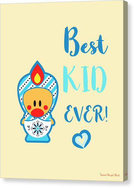 Cute Art - Blue And White Folk Art Sweet Angel Bird In A Matryoshka Doll Costume Best Kid Ever Wall Art Print Canvas Print