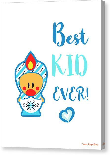 Cute Art - Blue And White Folk Art Sweet Angel Bird In A Nesting Doll Costume Best Kid Ever Art Print Canvas Print