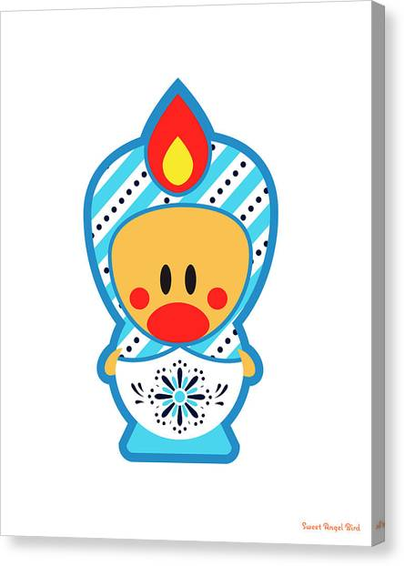 Cute Art - Blue And White Folk Art Sweet Angel Bird Nesting Doll Wall Art Print Canvas Print