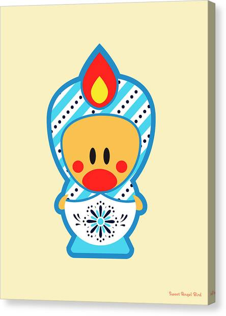 Cute Art - Blue And White Snowflake Folk Art Sweet Angel Bird In A Nesting Doll Costume Wall Art Print Canvas Print
