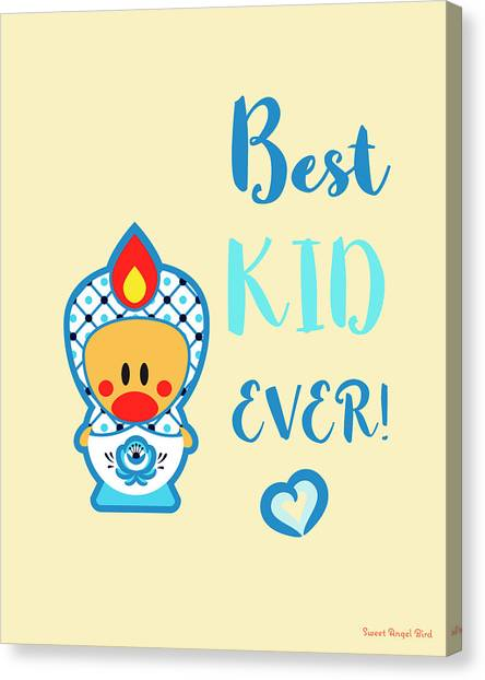 Cute Art - Blue, Beige And White Folk Art Sweet Angel Bird In A Nesting Doll Costume Best Kid Ever Wall Art Print Canvas Print
