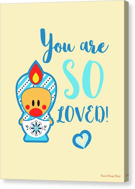 Cute Art - Blue, Beige And White Snowflake Folk Art Sweet Angel Bird Matryoshka You Are So Loved Wall Art Print Canvas Print