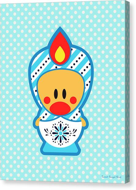 Cute Art - Blue Polka Dot Folk Art Sweet Angel Bird In A Matryoshka Costume Wall Art Print Canvas Print