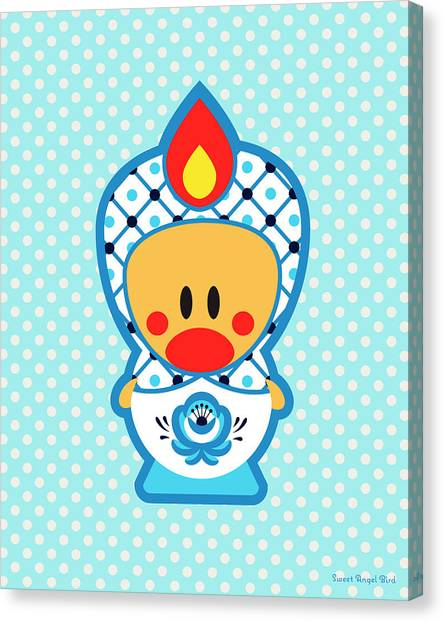 Cute Art - Blue Polka Dot Folk Art Sweet Angel Bird In A Nesting Doll Costume Wall Art Print Canvas Print