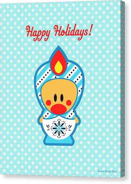 Cute Art - Blue Polka Dot Happy Holidays Folk Art Sweet Angel Bird In A Nesting Doll Costume Wall Art Print Canvas Print