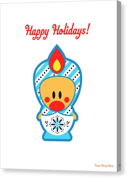 Cute Art - Happy Holidays Folk Art Sweet Angel Bird In A Nesting Doll Costume Wall Art Print Canvas Print