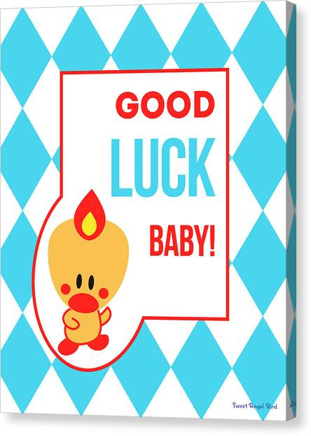Cute Art - Sweet Angel Bird Blue Good Luck Baby Circus Diamond Pattern Wall Art Print Canvas Print