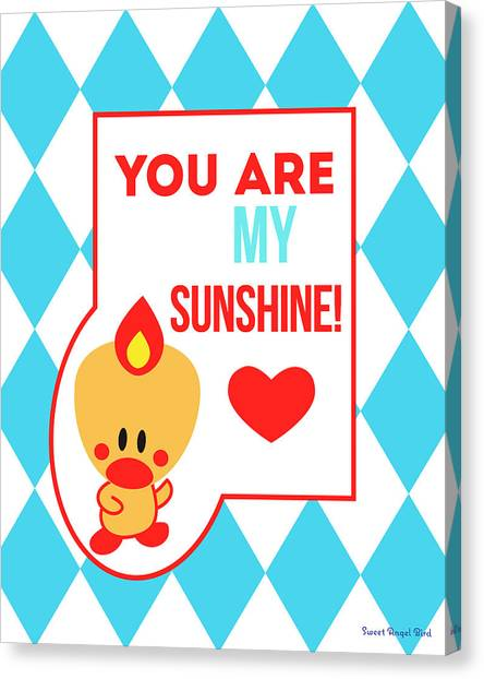 Cute Art - Sweet Angel Bird Blue You Are My Sunshine Circus Diamond Pattern Wall Art Print Canvas Print