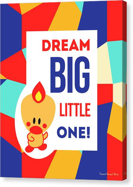 Cute Art - Sweet Angel Bird Multicolor Colorblock Dream Big Little One Wall Art Print Canvas Print