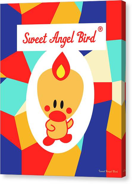 Cute Art - Sweet Angel Bird Multicolor Colorblock Logo Wall Art Print Canvas Print