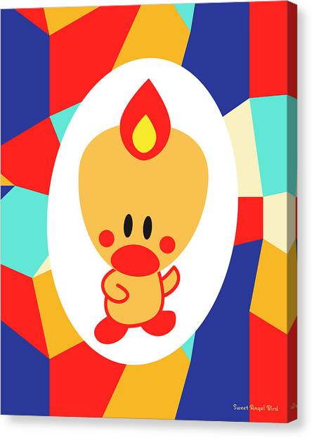 Cute Art - Sweet Angel Bird Multicolor Colorblock Wall Art Print Canvas Print
