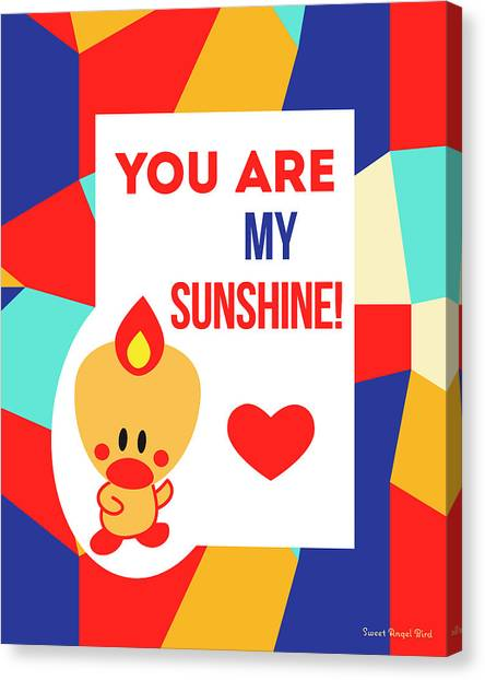 Cute Art - Sweet Angel Bird Multicolor Colorblock You Are My Sunshine Wall Art Print Canvas Print