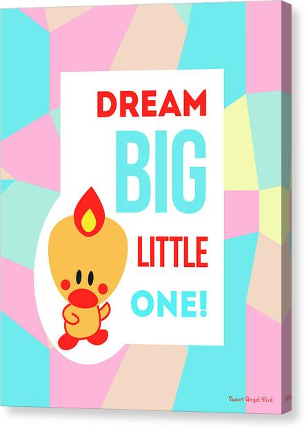 Cute Art - Sweet Angel Bird Pastel Colorblock Dream Big Little One Wall Art Print Canvas Print
