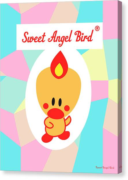 Cute Art - Sweet Angel Bird Pastel Colorblock Logo Wall Art Print Canvas Print