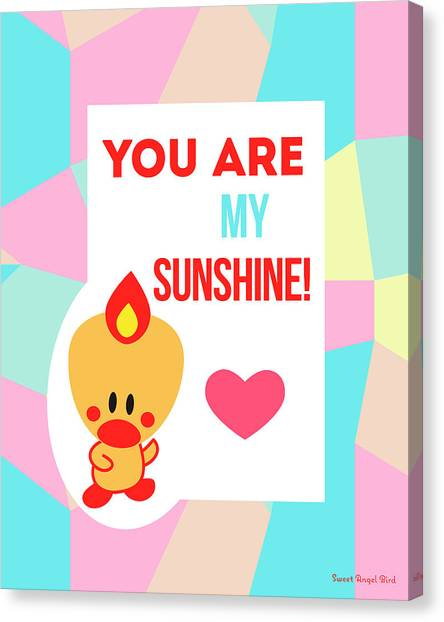 Cute Art - Sweet Angel Bird Pastel Colorblock You Are My Sunshine Wall Art Print Canvas Print