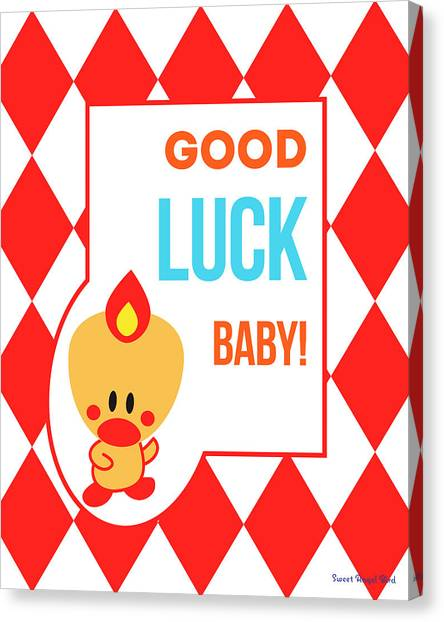 Cute Art - Sweet Angel Bird Red Good Luck Baby Circus Diamond Pattern Wall Art Print Canvas Print
