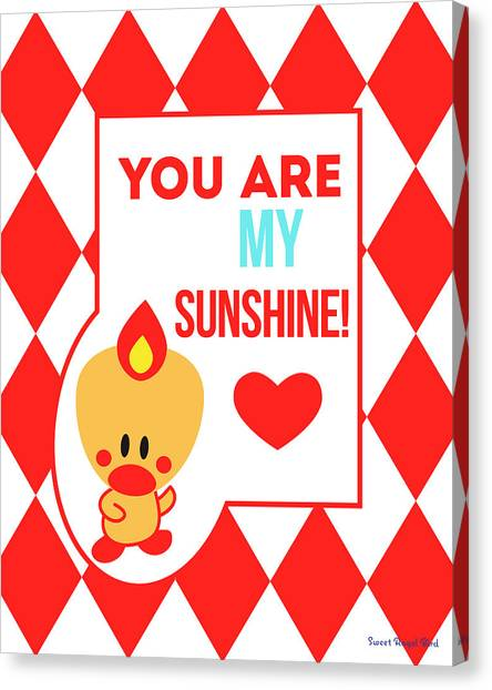 Cute Art - Sweet Angel Bird Red You Are My Sunshine Circus Diamond Pattern Wall Art Print Canvas Print