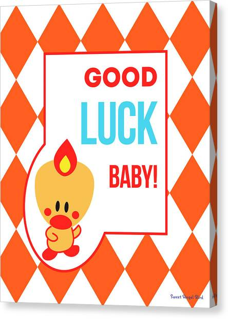 Cute Art - Sweet Angel Bird Terra Cotta Good Luck Baby Circus Diamond Pattern Wall Art Print Canvas Print