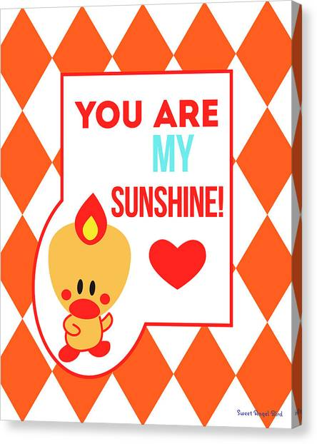 Cute Art - Sweet Angel Bird Terra Cotta You Are My Sunshine Circus Diamond Pattern Wall Art Print Canvas Print