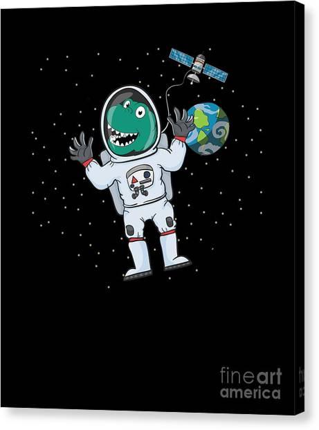 Canvas Print - Cute Astronaut Dinosaur Trex by Thomas Larch