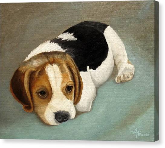 Beagles Canvas Print - Cute Beagle by Angeles M Pomata