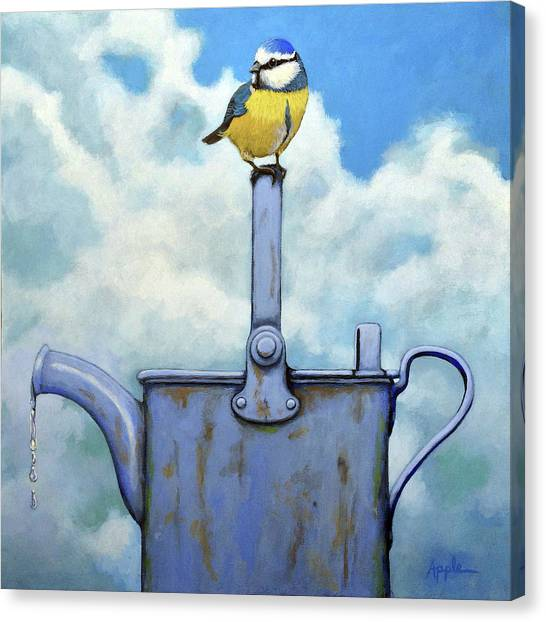 Cute Blue-tit Realistic Bird Portrait On Antique Watering Can Canvas Print